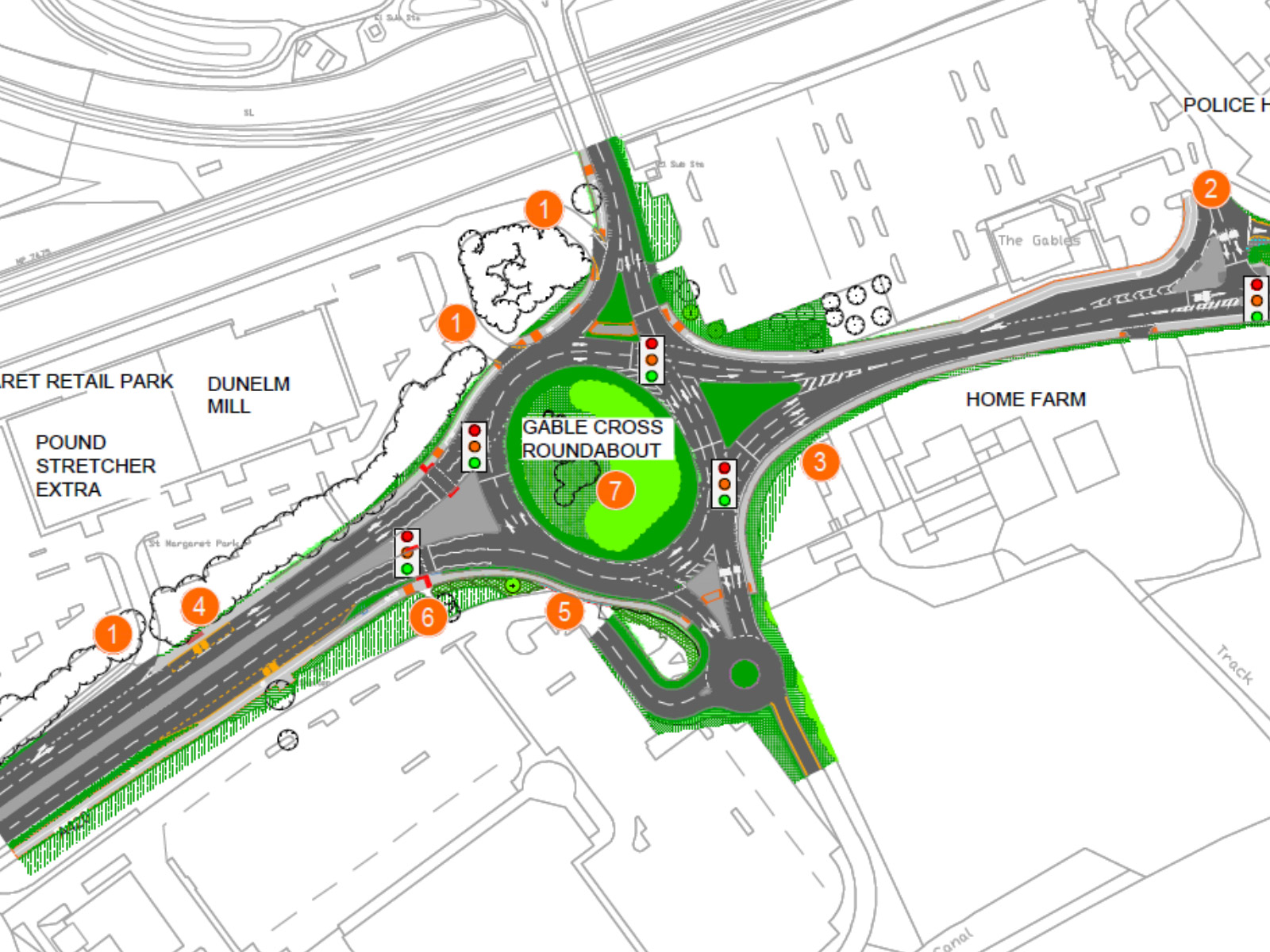 Planning Drawing of Gablecross junction Swindon